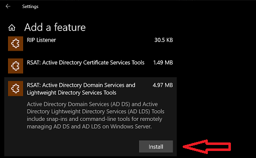 Install Active Directory RSAT in Windows 10 1809 or later